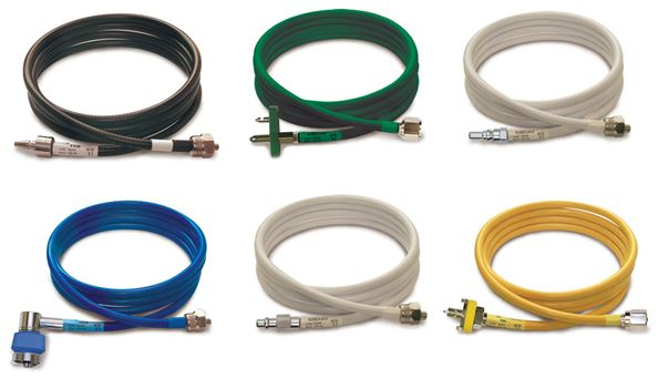 Medical gas hoses for ventilators and CPAP devices